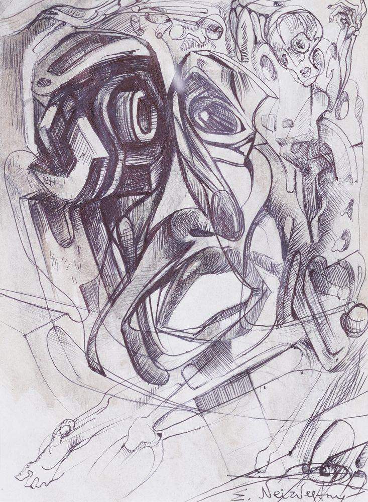 ERNST NEIZVESTNY (1925-2016) signed 'E.Neizvestny' (lower right) pencil on paper 30 x 20 cm