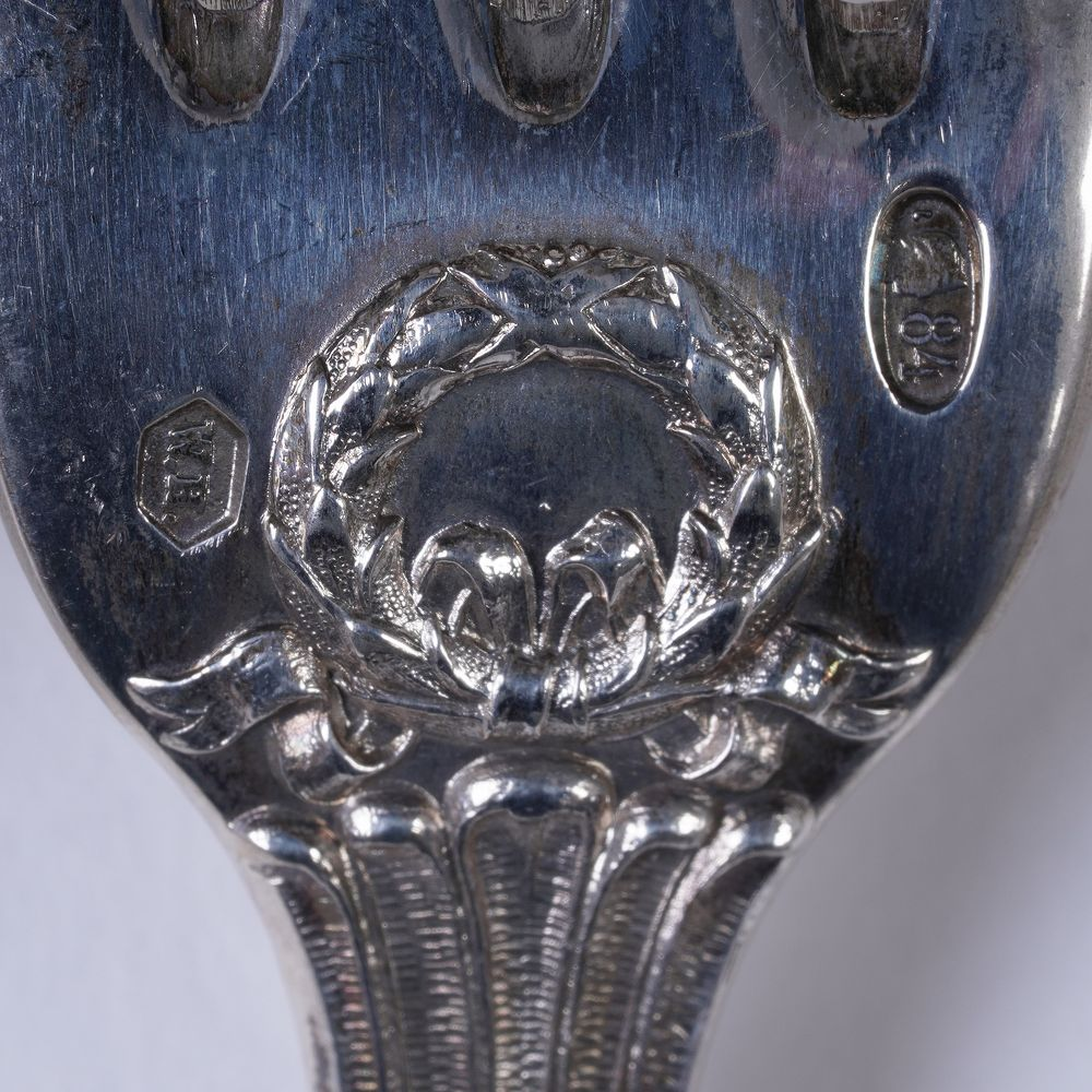 A RUSSIAN SILVER CANTEEN OF CUTLERY FOR TWELVE, HEMPEL BROTHERS (190 pieces) Russian Empire, Warsaw, - Image 6 of 6