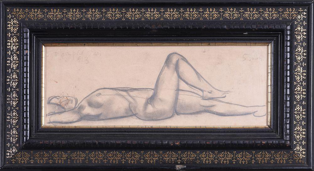 BORIS GRIGORIEV (1886-1993) Reclining nude ?harcoal on paper signed, inscribed dated 'B Grigoriev - Image 2 of 3