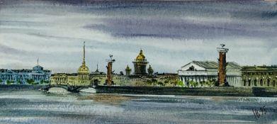UNKNOWN ARTIST Neva, Saint Petersburg watercolor on paper 15.5 x 29.5 cm