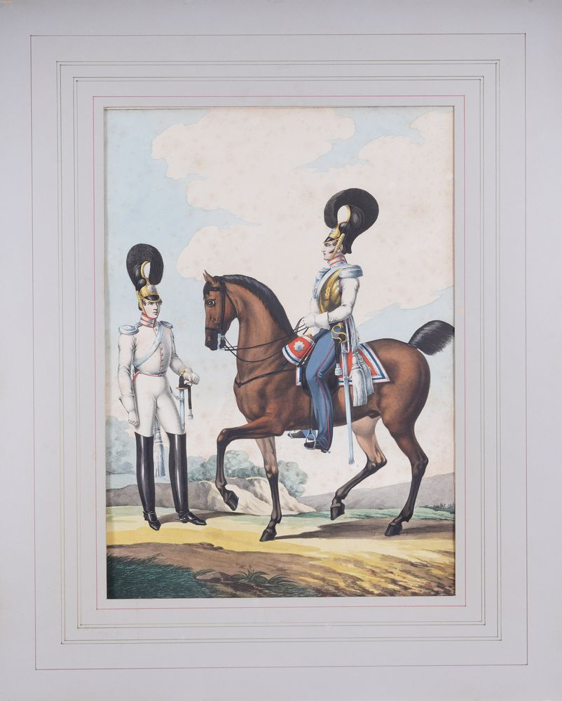 LEV ALEXANDROVICH BELOUSOV (1806-1854) Officers of the Cavalry Regiment lithograph, painted with - Image 2 of 3