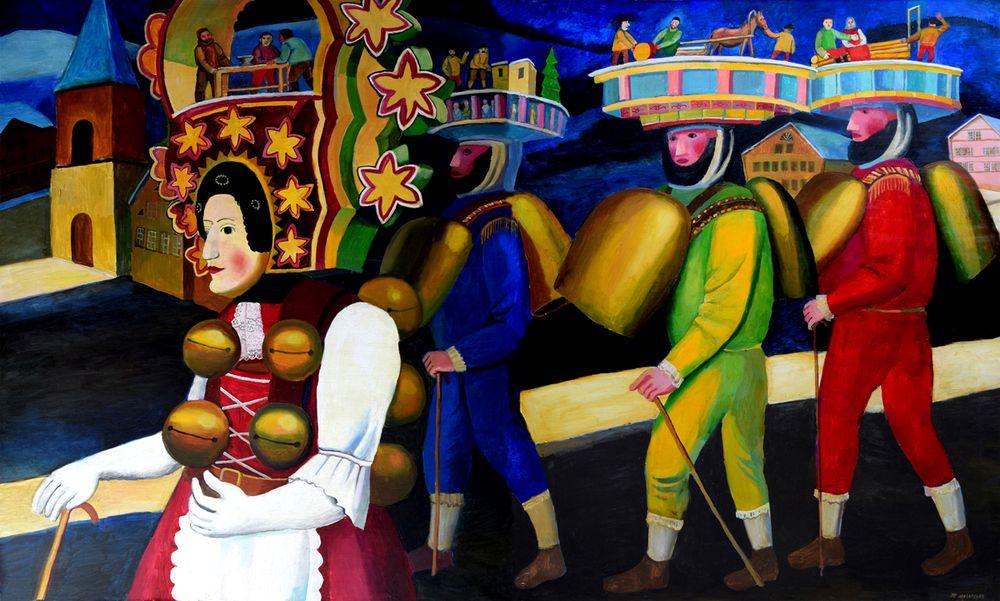 TATYANA NAZARENKO A Masquerade procession in the Village of Urnäsch, Switzerland signed (lower
