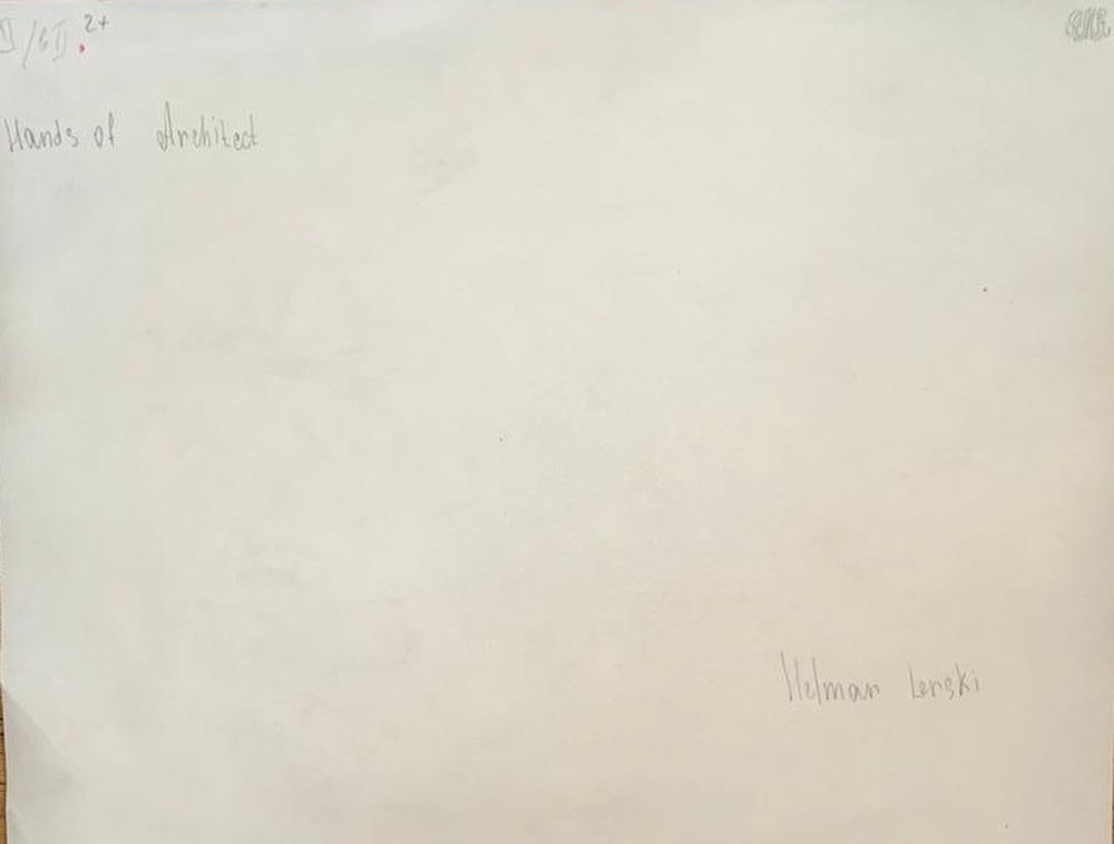 HELMAR LERSKI (1871-1956) Hands of Architect Unidentified signature and annotation in English (on - Image 2 of 2