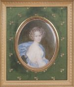 UNKNOWN ARTIST Portrait of Princess Catherine Bagration (1783-1857) watercolor and gouache on bone