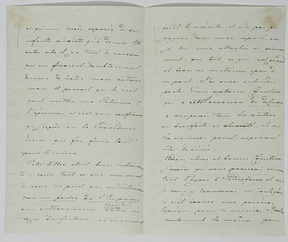 GRAND DUCHESS ALEXANDRA FEODOROVNA (1798-1860), FUTURE EMPRESS A handwritten letter addressed to - Image 3 of 3