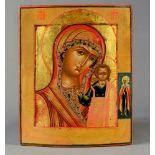 AN ICON « THE KAZANSKAYA MOTHER OF GOD» WITH SAINT TATIANA Yaroslavl, mid-19th century Wood,