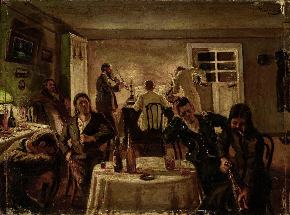 ALEXANDR INNOKENTIEVICH CHIRKOV (1865-1913) Night gatherings signed in Cyrillic 'Chirkov' (upper
