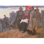 Martemyan Vasilevich Kazarbin (1938-2000) Grigory Kotovsky oil on canvas 139 x 189 cm painted in