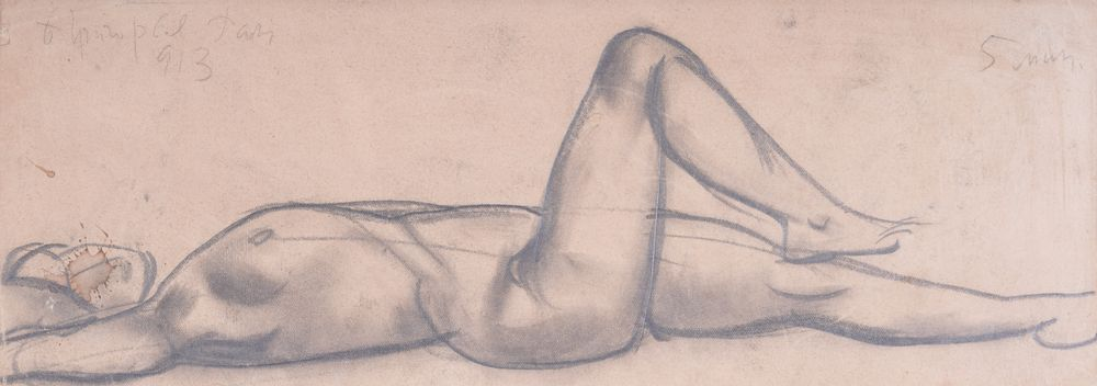 BORIS GRIGORIEV (1886-1993) Reclining nude ?harcoal on paper signed, inscribed dated 'B Grigoriev