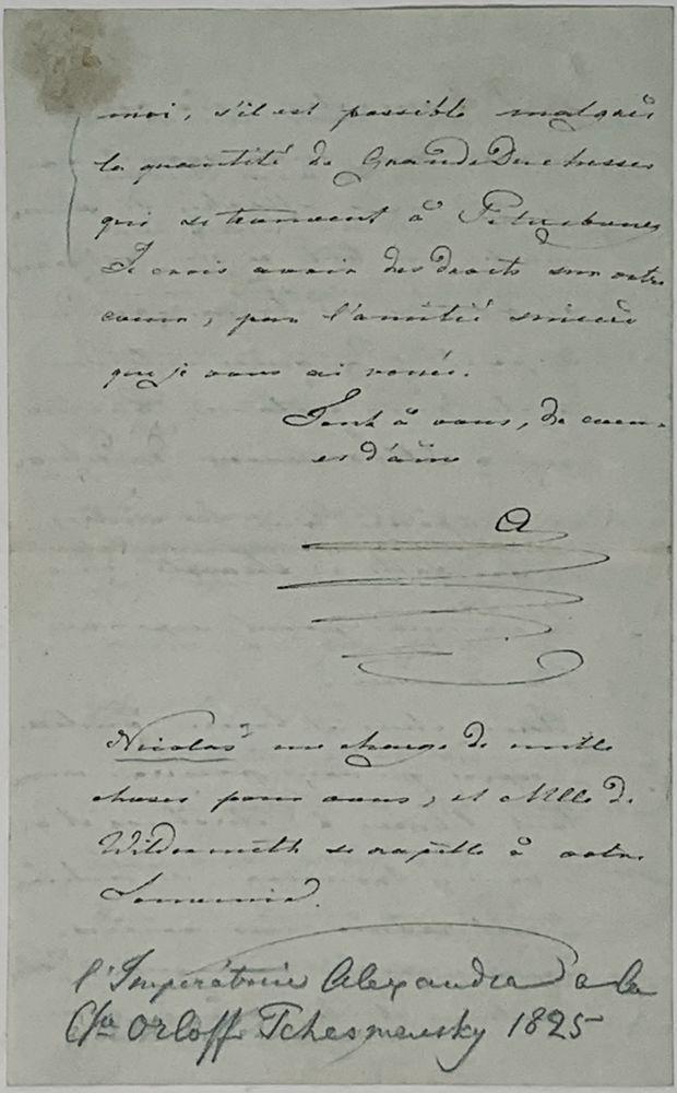 GRAND DUCHESS ALEXANDRA FEODOROVNA (1798-1860), FUTURE EMPRESS A handwritten letter addressed to - Image 2 of 3
