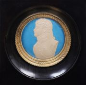 A portrait miniature with a profile of the Emperor Alexander I in uniform Cream paper; embossed,