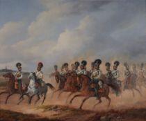 JULIUS CARL SCHULZ (1808-1896) The Brandenburg Cuirassier Regiment at the outskirts of Berlin signed