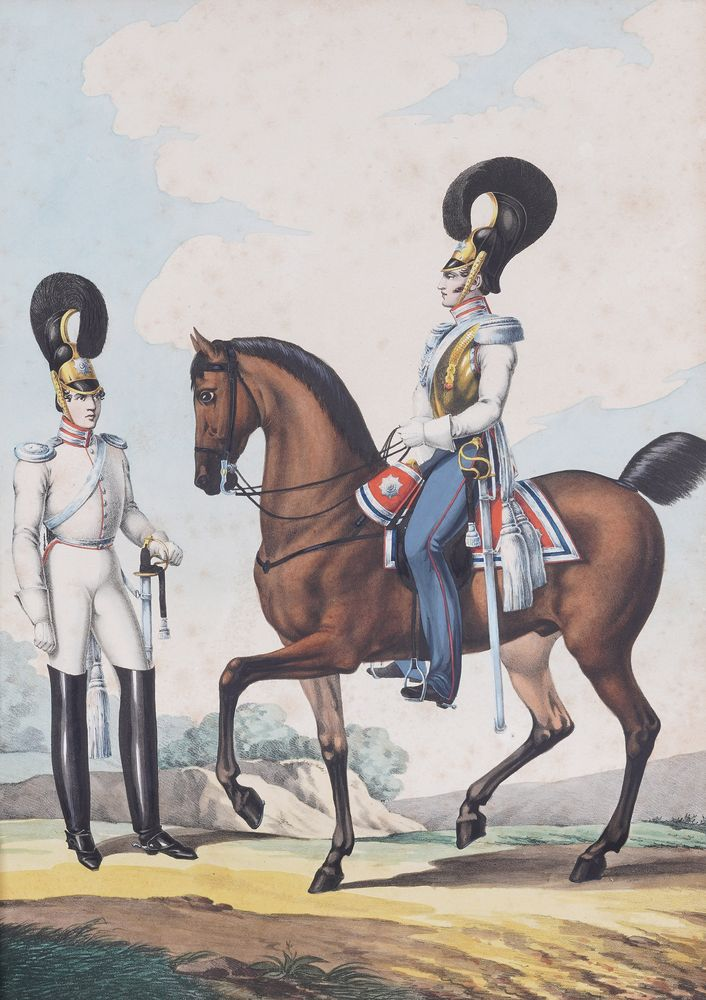 LEV ALEXANDROVICH BELOUSOV (1806-1854) Officers of the Cavalry Regiment lithograph, painted with