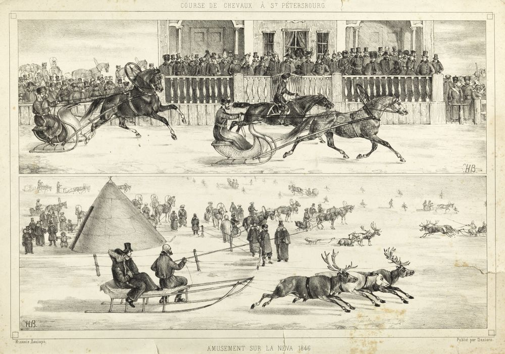 According to the original by N. E. Sverchkov (1817—1898) Riding on the Neva lithograph on paper 27 x