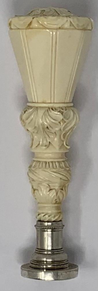 Carved ivory seal with the coat of arms of the DemidovS, PrinceS of San Donato Western Europe, the