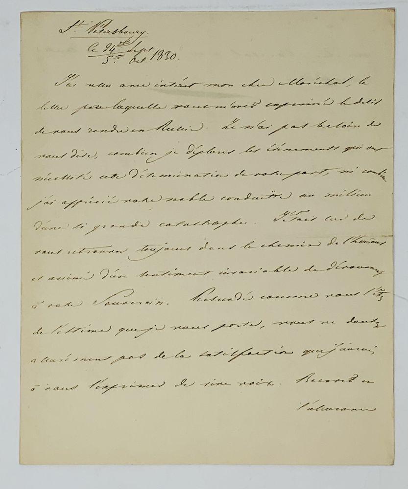 NICHOLAS I (1825-1855) A handwritten letter addressed to Marshal de Marmont. St. Petersburg,
