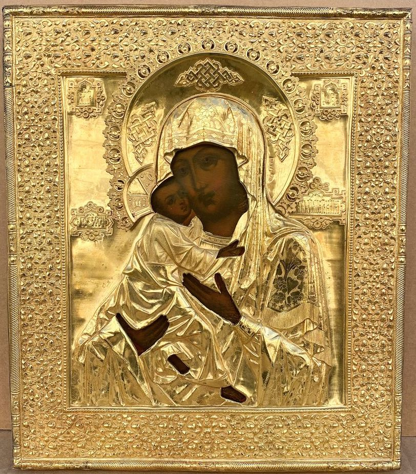 AN ICON «THE VLADIMIRSKAYA MOTHER OF GOD» IN A SILVER-GILT OKLAD Moscow, end of 19th century Wood,