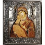 AN ICON «THE VLADIMIRSKAYA MOTHER OF GOD» IN A SILVER OKLAD Russia, end of 19th century Wood, gesso,