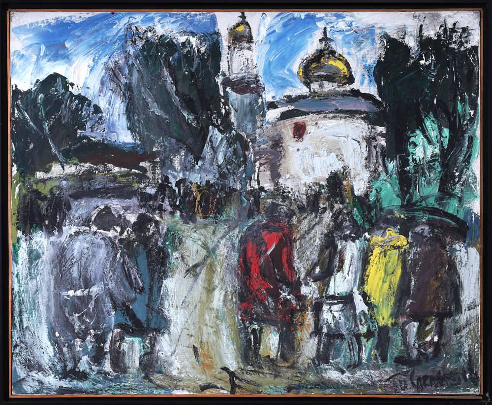 ANATOLY SLEPISHEV (1932-2016) On the way to church signed in cyrillic '? ????????' (lower right) oil