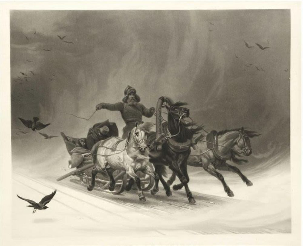 ROLLET (1809-1862) after the original by Horace Vernet (1789-1863) Troika etching, mezzotint Image -