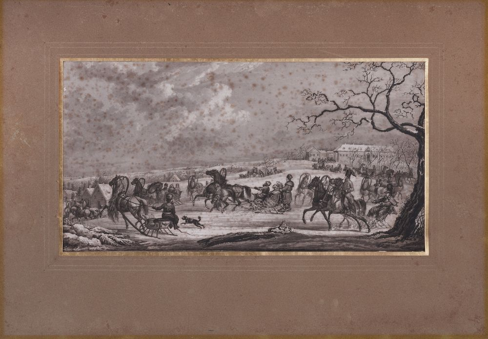 SAUERWEID Alexander Ivanovich (1783-1844) Sled races in the snow. Red taverns road aquatint on paper - Image 2 of 3
