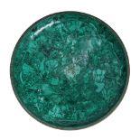 Malachite decorative dish with a brass frame 20 century Malachite Diameter 44 cm