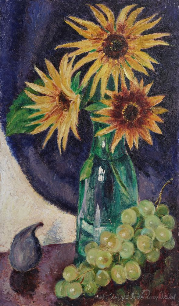 GEORGES POGEDAIEFF (1899-1971) Sun flowers, quince and grapes signed and dated '65 George a de