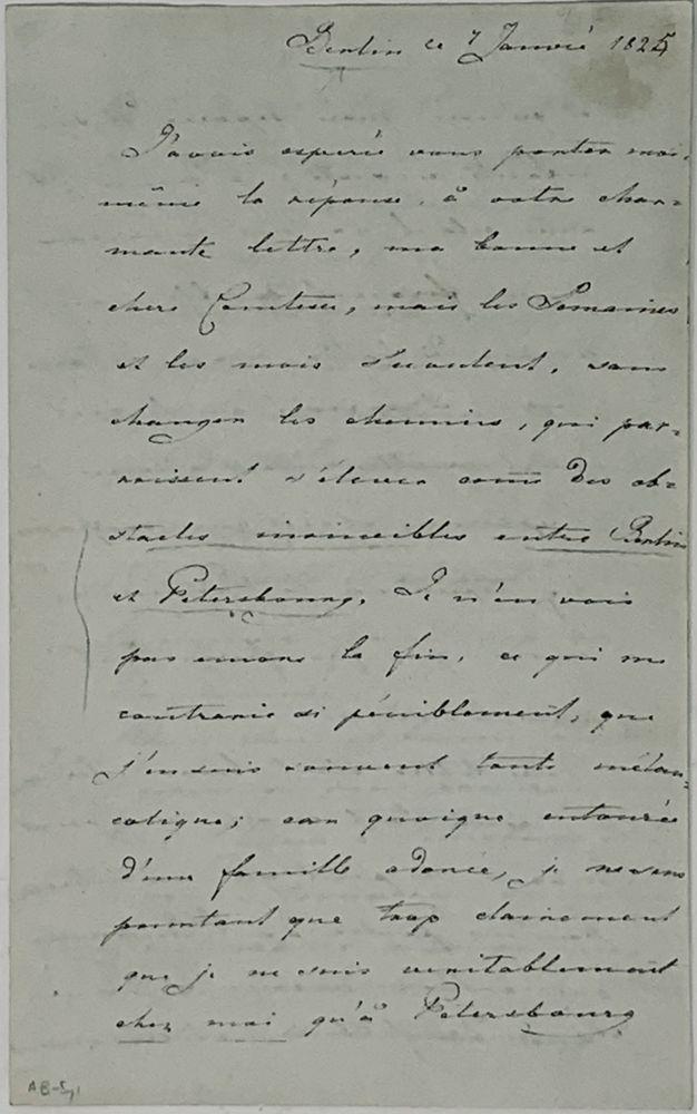 GRAND DUCHESS ALEXANDRA FEODOROVNA (1798-1860), FUTURE EMPRESS A handwritten letter addressed to