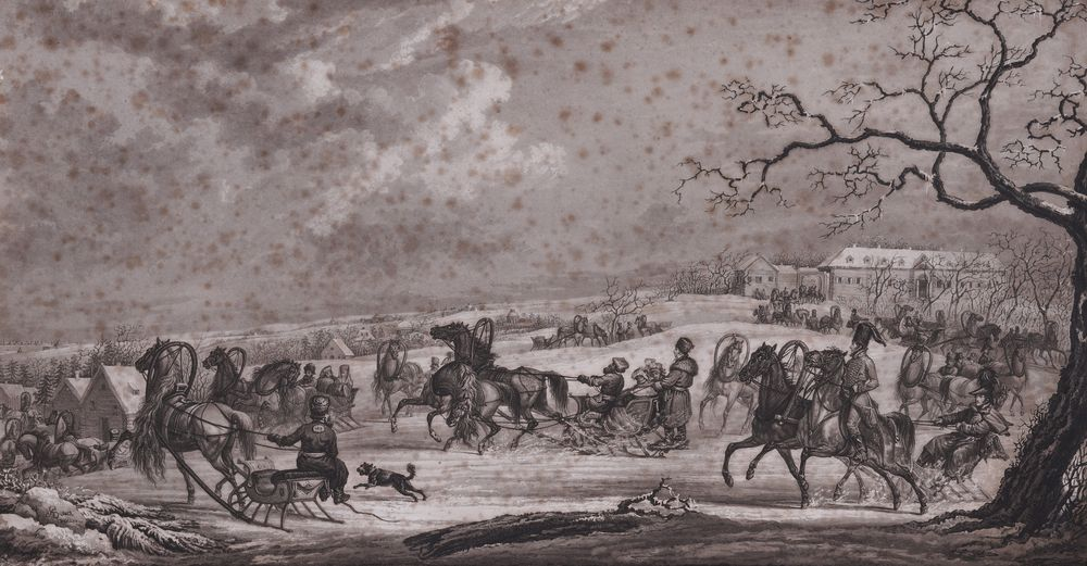 SAUERWEID Alexander Ivanovich (1783-1844) Sled races in the snow. Red taverns road aquatint on paper