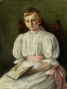 LUKIAN VASILYEVICH POPOV (1873-1914) Girl in blue signed (lower right) oil on canvas 80 x 59 cm