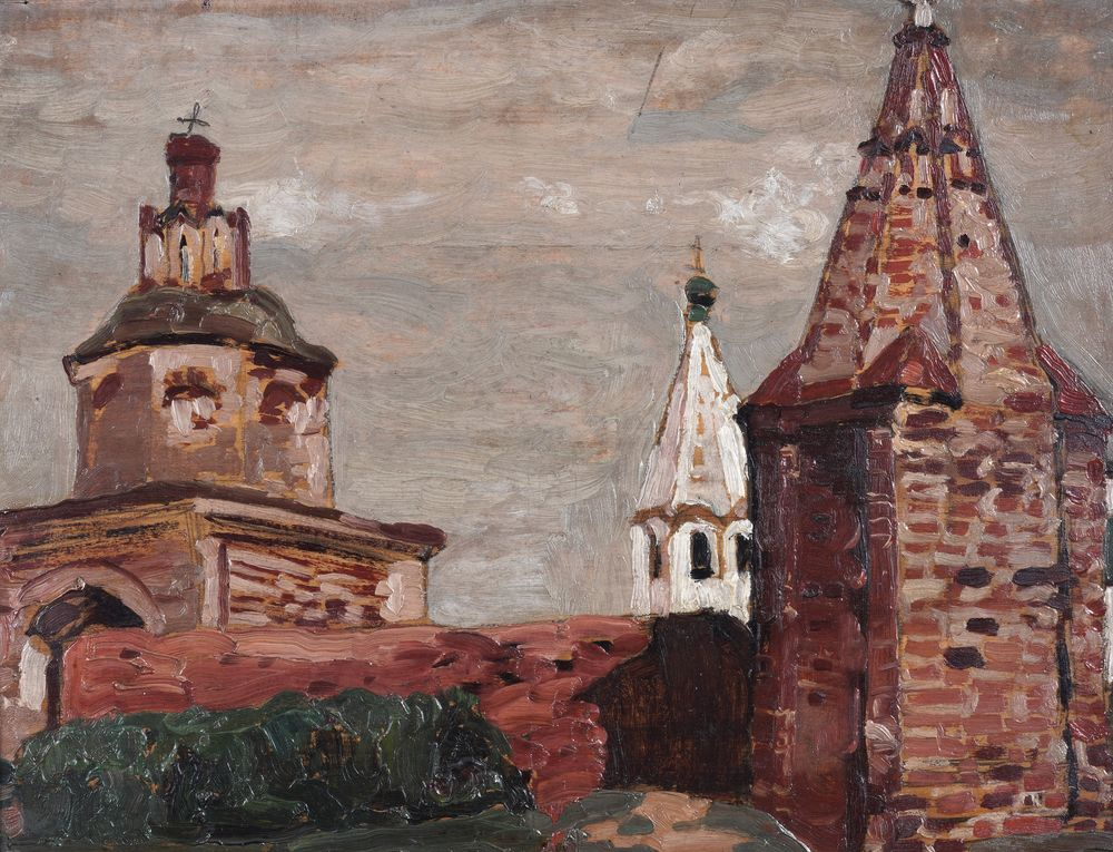 Nicolas Roerich (1874-1947) The Monastery Alexander Newsky oil on panel numerous labels on the