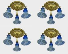 DAUM FRERES LOUIS MAJORELLE (1859-1926) Four chased gilt bronze ceiling lights supporting three Daum