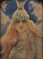 GASTON BUSSIERE (1862-1928) Brunhilde signed 'Gaston Bussiere' (lower left) watercolour on paper