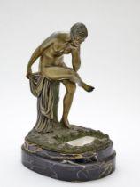 IGNACIO GALLO (?-1935) Art Deco bronze, marble and alabaster lamp signed 'I. Gallo' bronze female