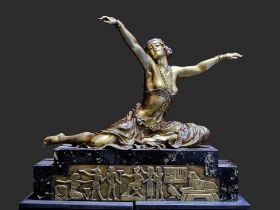 CLAIRE JEANNE ROBERTE COLINET (1880-1950) Theban dancer signed: Cl.JR. Colinet gilt bronze, on a