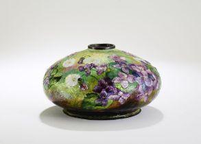 CAMILLE FAURE (1874–1956) Enameled vase with flower decoration base signed 'C. Fauré Limoges'