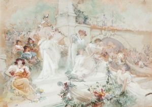 GEORGES CLAIRIN (1843-1919) Flower feast gouache and watercolor on paper 41 x 29 cm Executed circa
