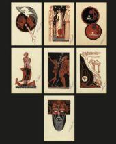 ERTE (ROMAIN DE TIRTOFF)(1892-1990) Projet d'illustration:Naissance de l'Odyssée, 7 drawings