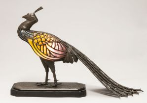 MULLER FRERES (established 1895–1933) LEON CHAPELLE Bronze and glass 'Peacock' table lamp signed '