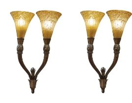 EDGAR WILLIAM BRANDT (1880-1960) DAUM FRERES Art deco pair of wall lights signed 'E.Brandt' and '