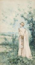 GEORGES CLAIRIN (1843-1919) Portrait of Sarah Bernhardt at Belle-Ile-Sur-Mer signed 'G. Clairin' (