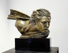 ALEXANDER KELETY (1874-1940) The wind (bust of famous pilot Jean Mermoz) signed on the bronze '