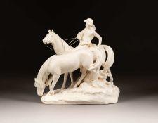 GROSSE REITERFIGUR Wohl Deutsch, um 1900 Keramik, beige glasiert mit