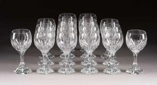 SATZ VON 16 WEISSWEINGLÄSERN 'MASSÉNA' Frankreich, Cristalleries de Baccarat,