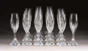 SATZ VON 16 FLÖTEN 'MASSÉNA' Frankreich, Cristalleries de Baccarat, 2. Hälf
