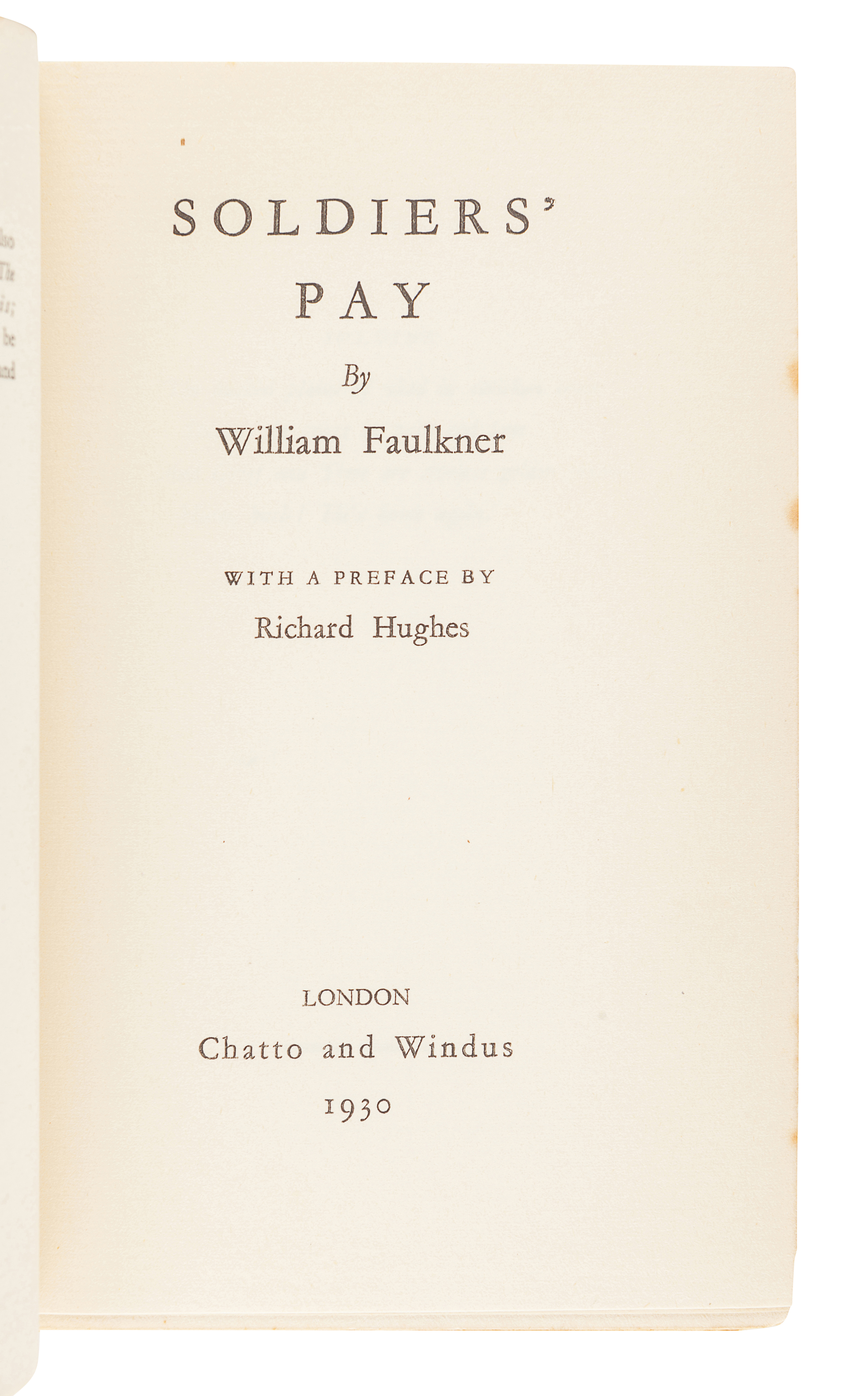 FAULKNER, William (1897-1962). Soldiers' Pay. New York: Boni & Liveright, 1926. - Image 3 of 3