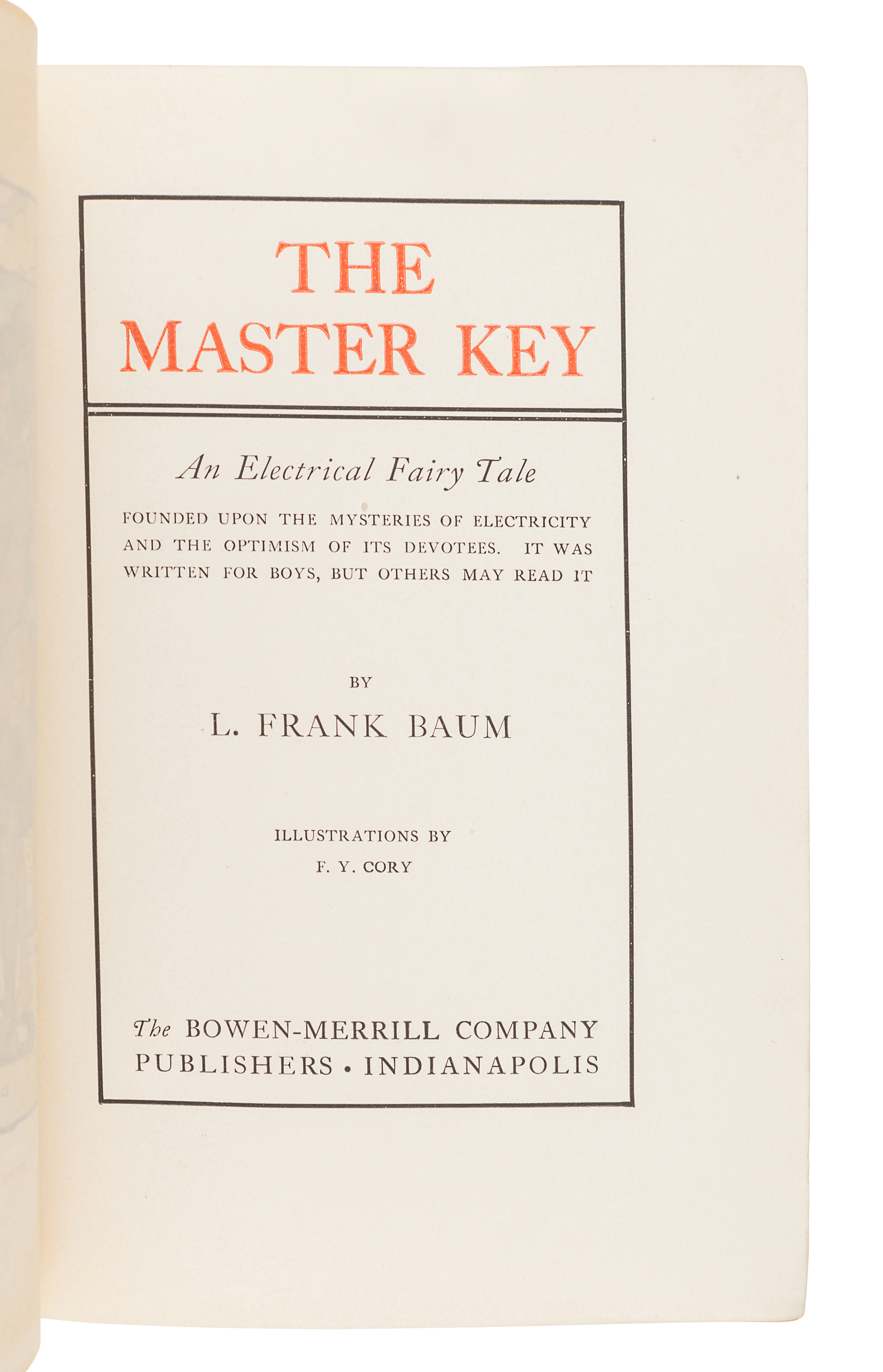 BAUM, L. Frank (1856-1919). The Master Key. An Electrical Fairy Tale. Indianapolis: The Bowen-Merril - Image 2 of 2