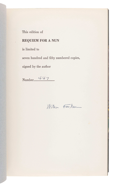 FAULKNER, William (1897-1962). Requiem for a Nun. New York: Random House, 1951.