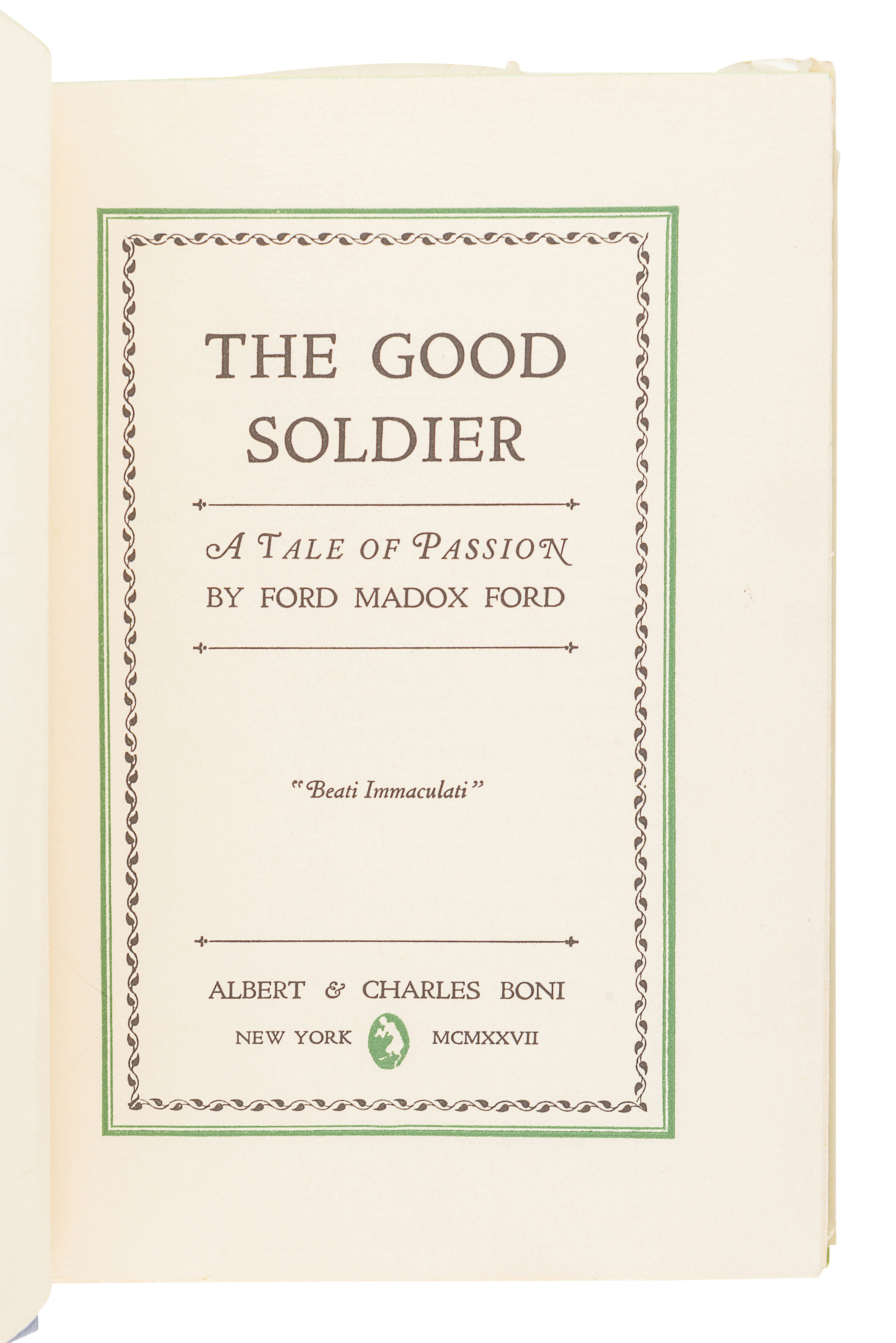 FORD, Ford Madox (1873-1939).The Good Soldier. New York: Albert and Charles Boni, 1927. - Image 2 of 3