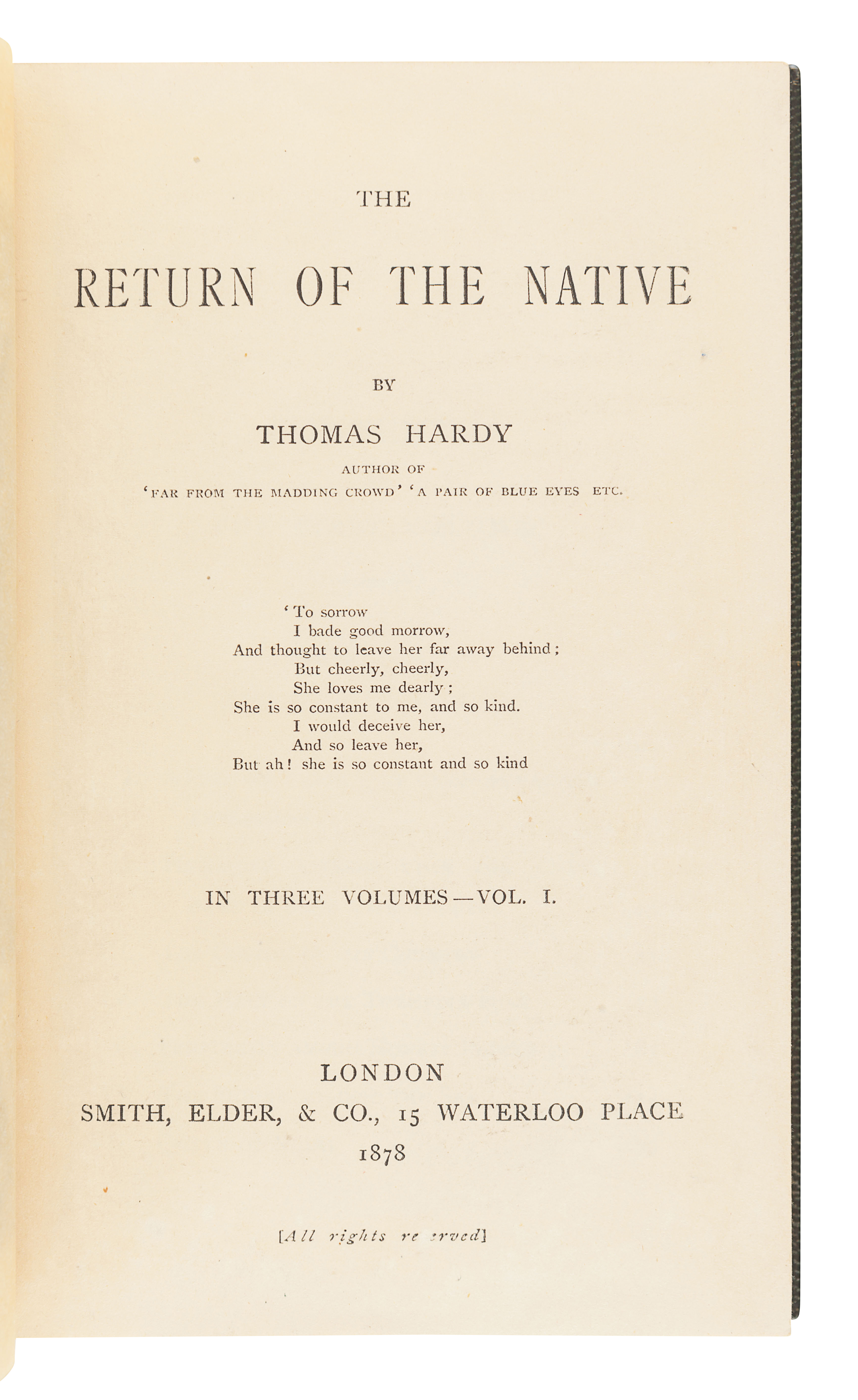 HARDY, Thomas (1840-1928). The Return of the Native. London: Smith, Elder, & Co., 1878. - Image 3 of 3